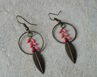 Earrings chains enamel ears 2 fuchsia