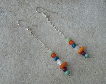 5 pearls and chain earrings