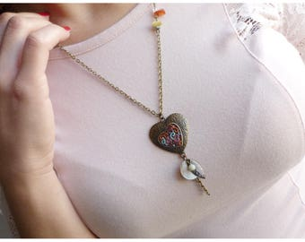 hand painted antique bronze necklace and pendants