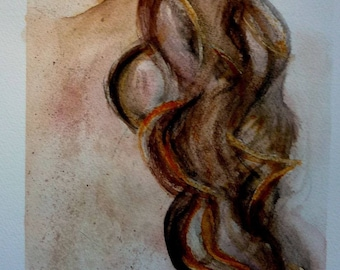 watercolor spot to freckled, nude woman