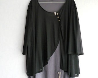 Tunic long gray and black T-shirt, size XL women romantic and more