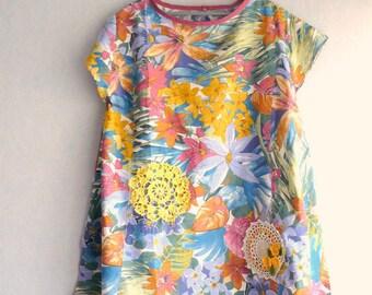 Asymmetric tunic, Vintage flowers, Crochet Doilies, women size XL