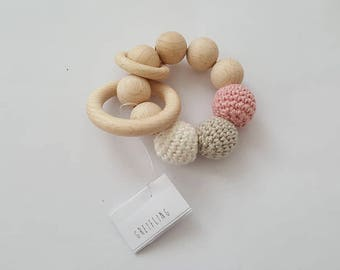 Natural Wood Baby Teether With Pink Crochet Cotton Beads, handmade wooden baby teething ring, eco-friendly, baby shower gift, baby gift idea