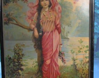 Rare Raja Ravi Varma oleograph of Vasantika