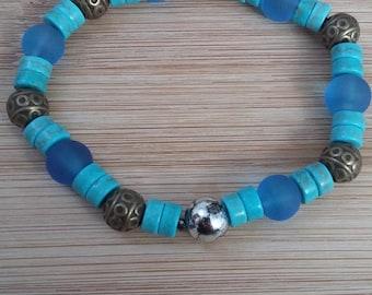 Tibet, blue glass beads bracelet