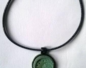 Necklace setting of turquoise ceramic designer cabochon