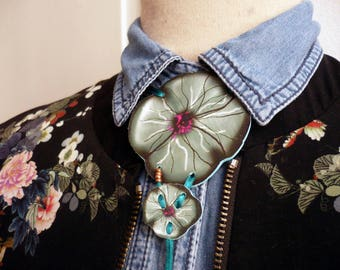 Duo of flowers printed on leather necklace