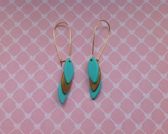 Earrings in polymer clay green and gold LEAF