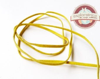 1 meter of 3mm yellow-green suede cord