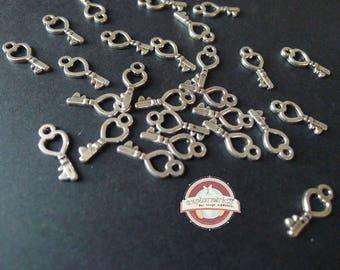 30 keys ethnic key Charms 7x18mm silver charms