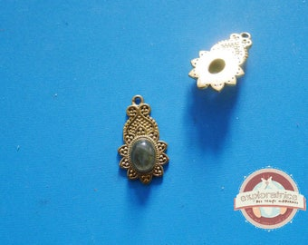 ethnic Indian Golden Topaz pendant ethnic 15x27MM