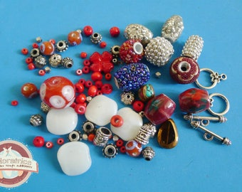 90 glass Indian ethnic ceramic beads blue silver red wood