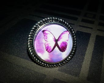 Butterfly purple, adjustable, cabochon glass 20mm Purple Butterfly motif, antiqued silver tone metal ring