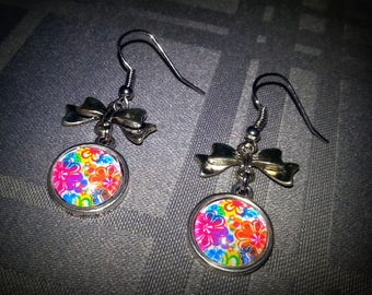 Flower Power earrings, colorful floral design 12mm glass cabochons, Silver Bow charms