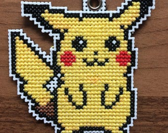 Cross Stitch Pikachu Pokemon Keyring / Necklace / Brooch