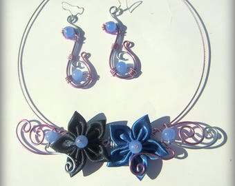 Necklace and earrings ' ear ceremony violet blue