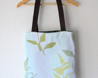 Tote bag green foliage with blue taffeta