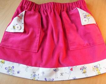 Pink velvet skirt with small fairies