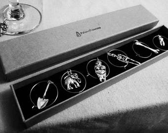 Palaeolithic Archaeology Wine Glass Charms - Markers for drink glasses shovel mammoth venus skeleton tooth bone