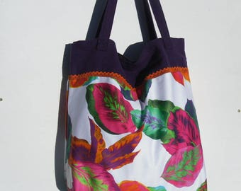 Printed fabric leaves and linen tote bag.