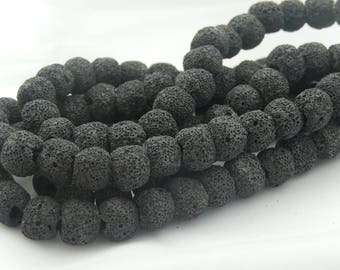 40 10mm black natural lava beads
