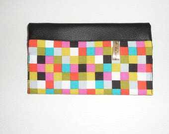 Checkbook holder with 2 compartments cards in Black PU leather fabric