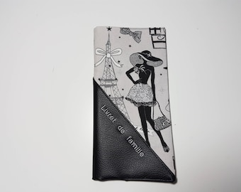 "Case black imitation leather and fabric ""La Parisienne"" family."