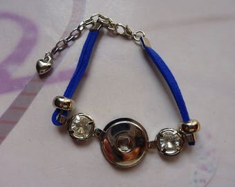 1 bracelet for snap 19mm with Rhinestones and Blue Suede cord