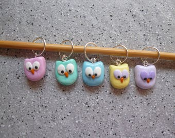 Stitch markers owls Fimo ring, handmade