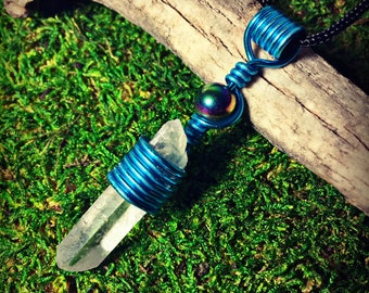Blue Wrapped Quartz Crystal Pendant