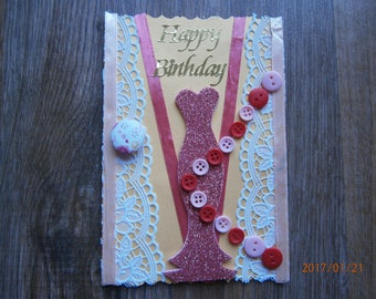 """""""Haute couture"""" themed birthday card!"""
