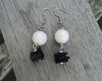 Bicycle inner and White Pearl Earrings