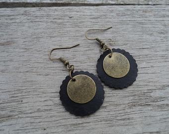 Discs bedroom inner and bronze metal - dangle earrings - round earrings - dangle fancy earrings