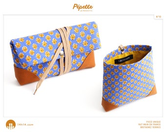 """COVER """"I am/10"""" blue camel flowers, mustard yellow lining and camel leather"""
