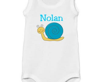 Onesie tank top small snail personalized with name