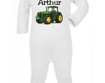 Pajamas baby tractor personalized with name