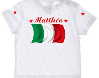 tee shirt baby Italy flag personalized with name