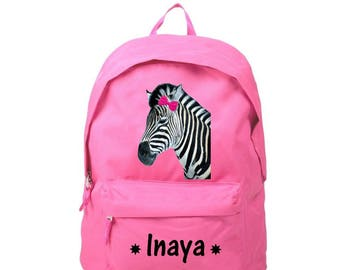 Backpack pink Zebra personalized with name