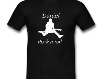Black men t-shirt Rock n roll personalized with name