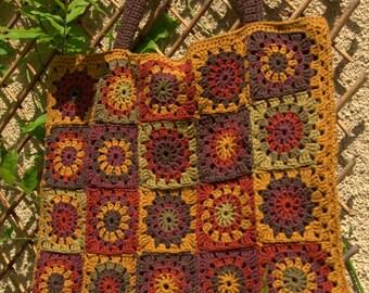 SOLD-large hand bag crocheted granny-mustard-rust-khaki-Brown-plum