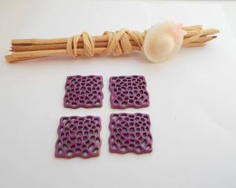 Pink Purple x 4 square connectors