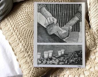 Printmaking, handmade print, 8.5x11in, black and white, home decor, cardstock, coffee shop
