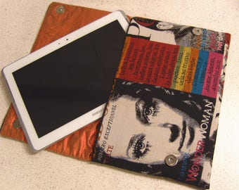 "Tablet case, Laptop sleeve, Pouch,  printed cotton ""Fashion magazines"""