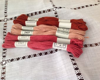Set of six skeins of cotton embroidery old plied