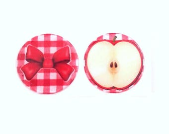 Epoxy stickers cabochons 25 mm - set of 2 - Apple - bow - T42