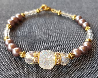 Taupe shiny Diamond Glass Beads Bracelet