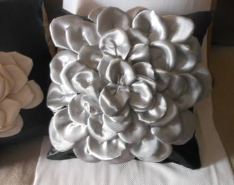 Satin flower pillow