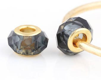 2 beads big hole Crystal faceted grey ash and metal color gold, 12 * 8mm approx.