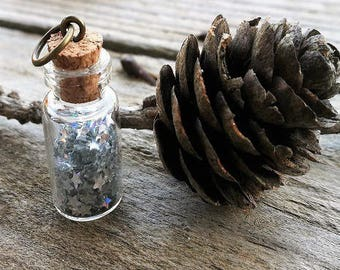 Beautiful glass vial pendant star glitter