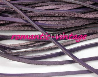 50cm of string of genuine leather 3 * 2mm dark purple